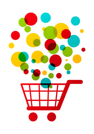 e retailers: Shopping cart with color circles Illustration