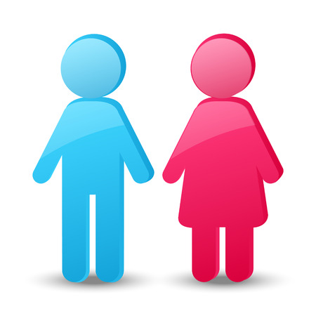 Girl and boy glossy icons Vector