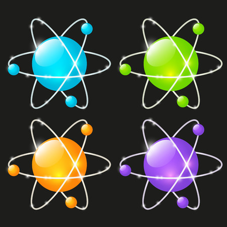 atomic: Set of glossy atomic icons Illustration