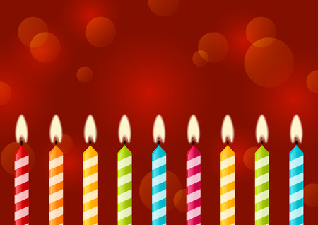 Birthday candles on red background Vector