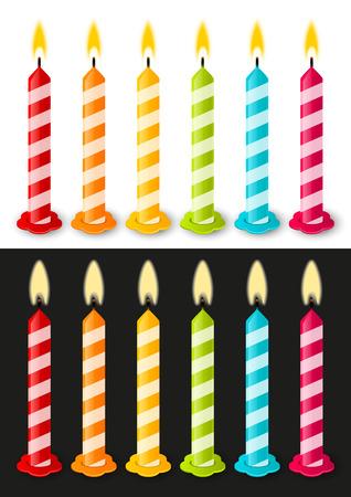 Satz von Farbe Geburtstagskerzen Standard-Bild - 25882495