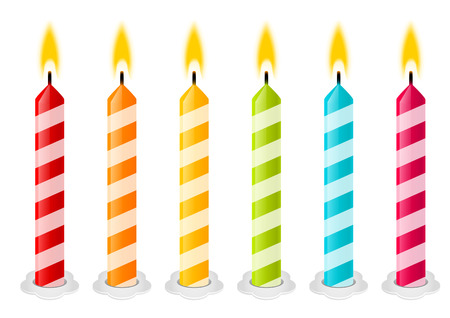 candle flame: Set of color Birthday candles