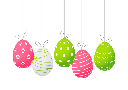 Easter eggs isolated on white 矢量图像