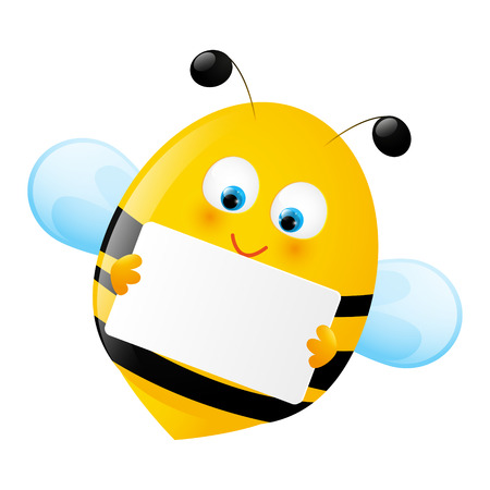 abeja caricatura: Abeja linda con el papel vacío Vectores