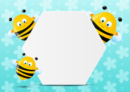 honeybee: Cute bees with paper sheet