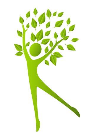 Concetto di ecologia - figura umana con foglie verdi