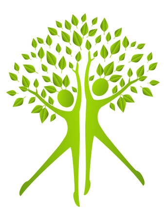Ecology concept - human figures with green leaves Vector