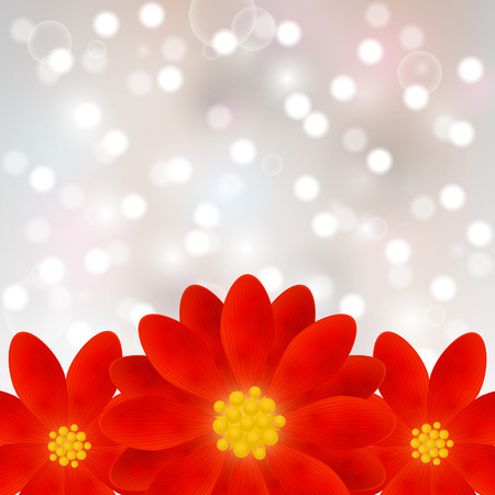 Red flowers on shiny background Vector
