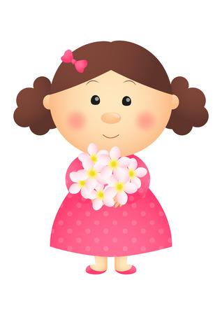 cartoon dress: Cute girl with floral bouquet