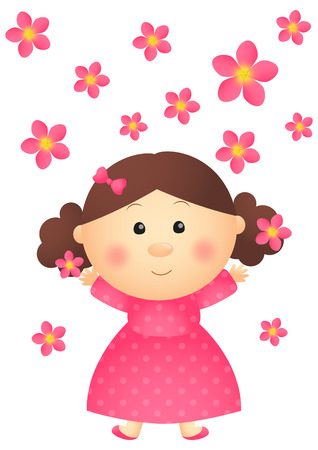 baby doll: Cute girl with pink flowers Illustration