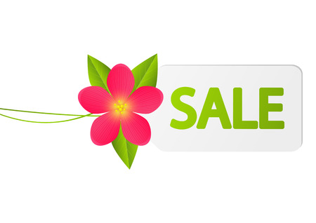 green coupon: Sale paper tag with flower