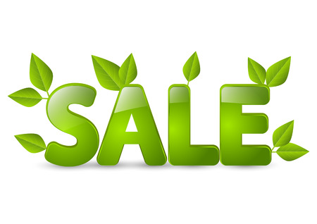 Spring sale message with green leaves Vector
