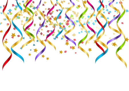 confetti white: Party background with color ribbons