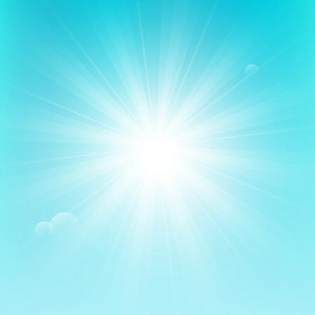 radiate: Shiny sun on blue sky background