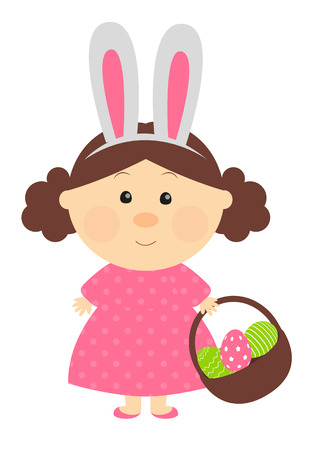 cartoon hare: Easter girl with with rabbit-like ears