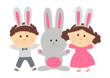 Easter rabbit with cute kids Vector