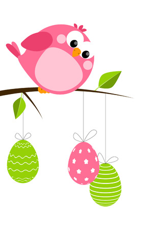 Funny bird with Easter eggs Vector