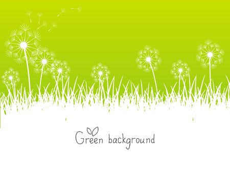 Green spring background with place for text 矢量图像