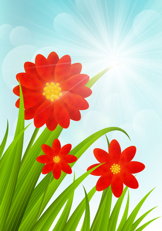 Red flowers on blue sky background Vector