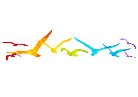 Rainbow birds border for Your design Vector