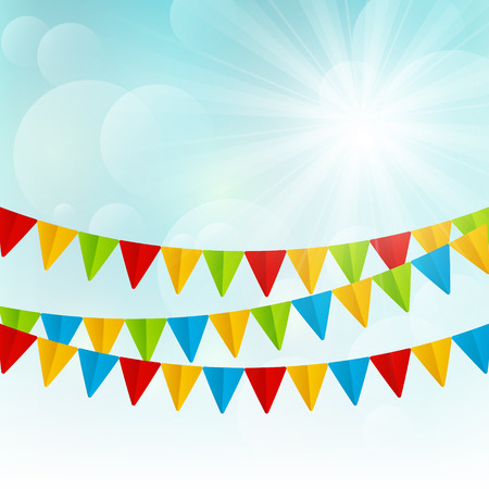 Color flags on sunny background Vector