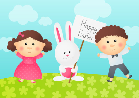 Easter rabbit with two kids Vector