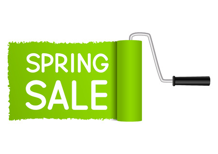 roller brush: Paint roller drawing sale message
