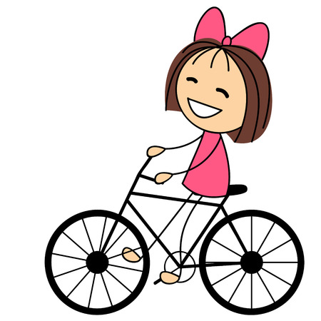 Cute little girl on bicycle Vector