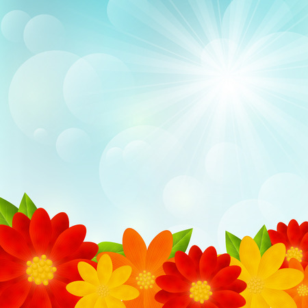 Bright flowers on sunny background Vector