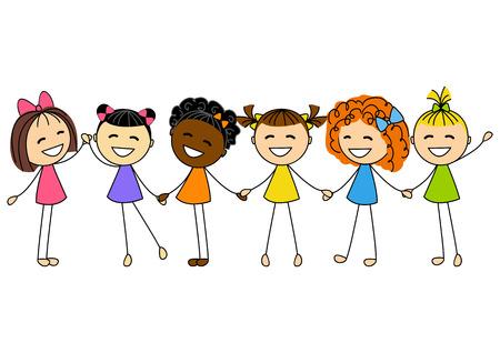 kleine meisjes: Schattige kleine meisjes geïsoleerd op wit Stock Illustratie