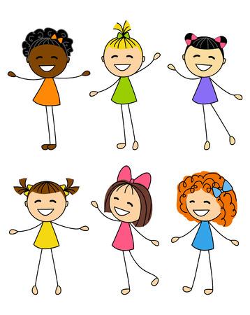 cute little girls: Juego de ni�as monas Vectores