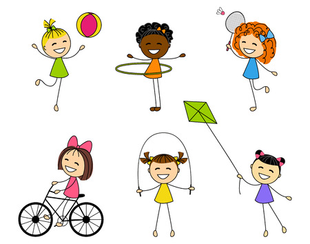 jump rope: Set of cute little girls Illustration