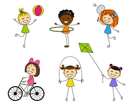 skipping rope: Set of cute little girls Illustration