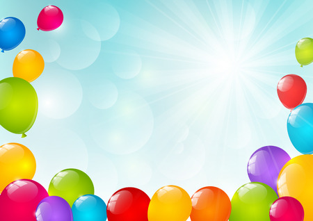 birthday celebration: Color balloons on sunny background Illustration
