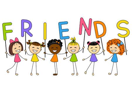 kleine meisjes: Leuke meisjes met letters