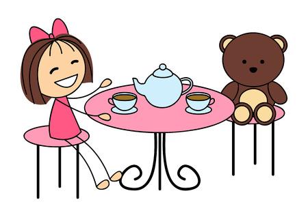 Cute little girl drinking tea Vector