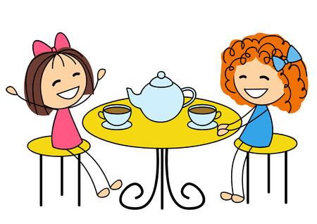 お茶を飲むかわいい女の子