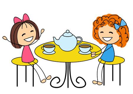 Cute little girls drinking tea Иллюстрация