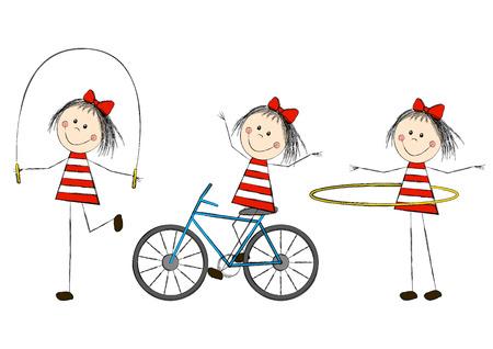 skipping: Set of cute little girls Illustration