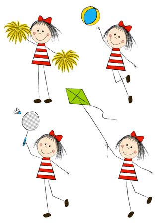cute little girls: Conjunto de ni�as monas