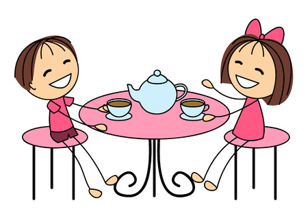 time table: Cute little kids drinking tea