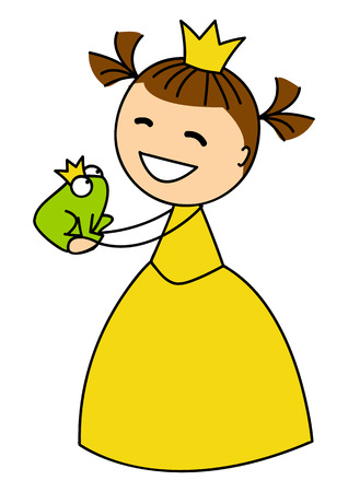 Cute little princess with frog Vector