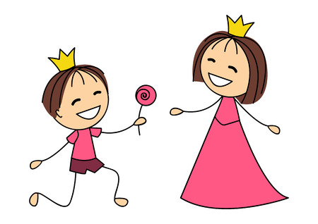 Cute little princess with prince Vector