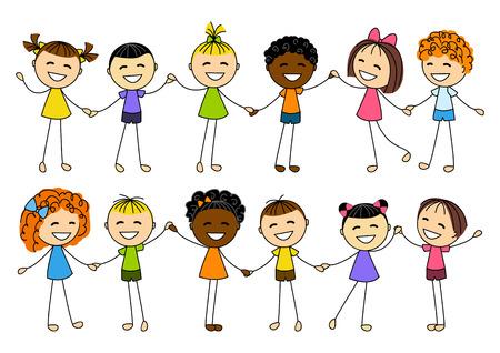 kids holding hands: Cute little kids holding hands