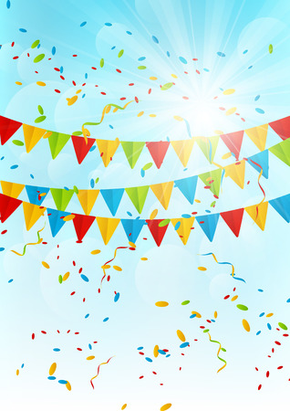 Party flags on sunny sky background Vector