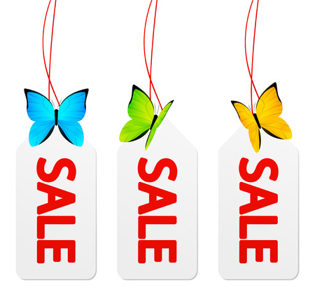 Sale paper tags with butterflies Vector