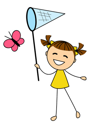 Cute little girl catching butterfly Vector