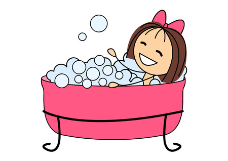 Cute little girl taking a bath