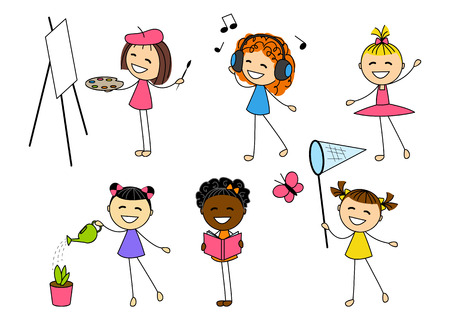 Set of little girls with different hobby Illustration