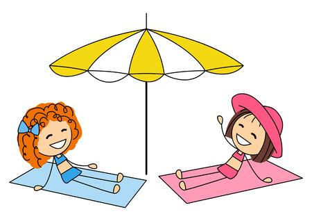 kleine meisjes: Schattige kleine meisjes te zonnebaden op het strand